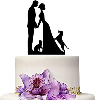 Wedding Cake Topper Bride and Groom Black Silhouette With Cat And Dog