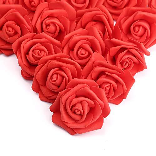 Künstliche Blumen Rosenköpfe,100 Stück Kunstblumen Deko Foamrosen Blumen Schaumrosen für Geburtstagsdeko DIY Hochzeit Geburtstagsdeko Blumensträuße Braut Mittelstücke Zuhause Party Deko(Korallrot
