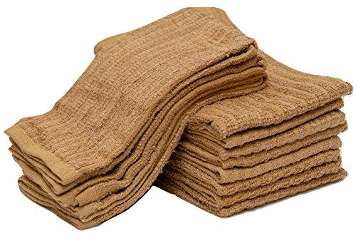Sammy Mills 12 PC, 100% cotton, Bar Mop Kitchen Towel, (16''x19'') (beige)