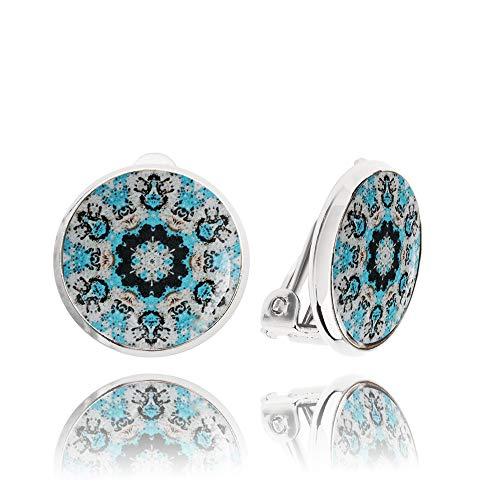 Luce Blu Clip su Orecchini Elegante Regalo per la Ragazza