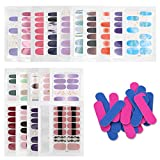 Geluode 20 Blatt Nagelsticker, Nagelaufkleber, Nagel Kunst Sticker, Selbstklebend Nagelfolie Kits mit 20 Stück Nagelfeilen, Nail Art Designs für Frauen Mädchen