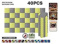 エースパンチ 新しい 40ピースセット グレーと黄 250 x 250 x 50 mm ピラミッド 東京防音 ポリウレタン 吸音材 アコースティックフォーム AP1034