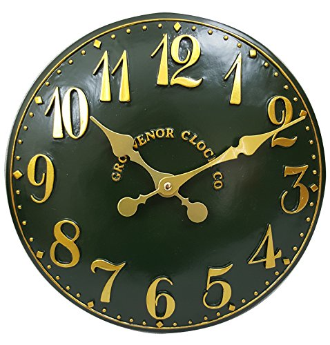 Outdoor indoor Green Garden Wall Clock Hand Painted church clock 38cm DS5112