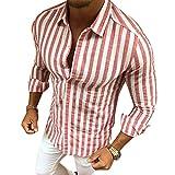 Camisa a Rayas para Hombre - Moda Manga Larga Collar Abatibl