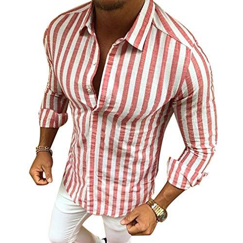 Camisa a Rayas para Hombre - Moda Manga Larga Collar Abatible Slim Fit Shirt Hombres Básica Casual Blusa con Botón Camisas Tops