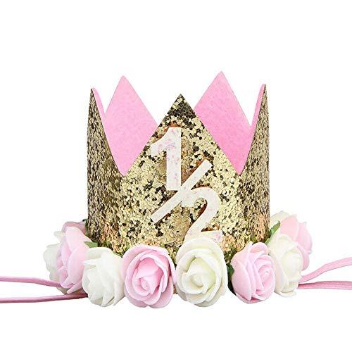 Baby Birthday Hat Crown Flower Hair Band Headwear Kids Baby Girls Toddler Party