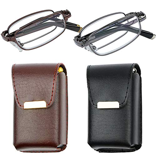 Reading Glasses Set of 2 Fashion Folding Readers with Leather Cases Brown and Gunmetal Glasses for Reading for Men and Women +2.75