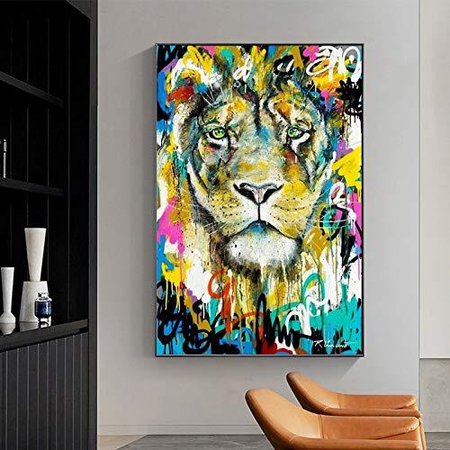 DIY Pintar por números Dessin Animal Tigre Lion Coloré Doodle Art Image Pintar por numeros para Adultos y ninos con Pincel y Pintura acrílica Pintura por números para adultos50x70cm(Sin Marco)