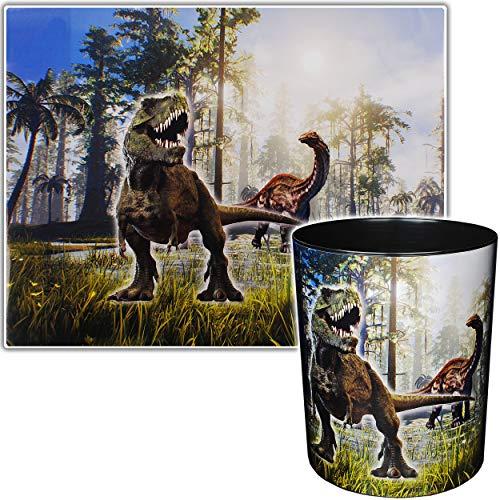 2 TLG. Set _ Schreibtischunterlage & Papierkorb - Dinosaurier - Dino T-Rex - Schreibtischset - Unterlage - 50 cm * 39 cm - abwischbar - Mülleimer Abfalleimer ..