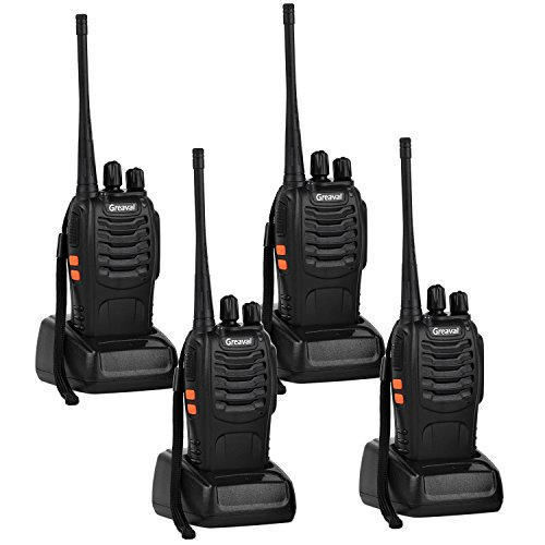 Greaval Walkie Talkie Rechargeable 4 Pack Long Distance 2 Two Way Radio for Adults and Kids 16 Channel with Earpieces Headphones LED Flashlight