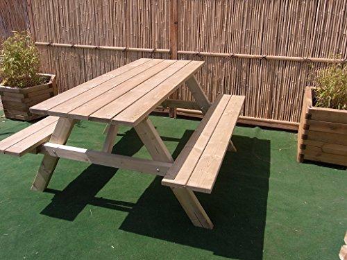 BIHL - Picknicktisch Bierbank 150 cm Picknickbank Bank Tisch