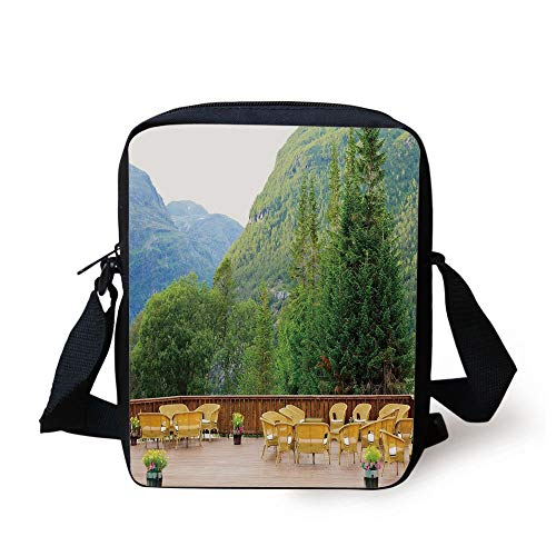 Travel Decor,Tables and Chairs of Outdoor Restaurant in Norway Mountains Nature,Green Mustard Brown Print Kids Crossbody Messenger Bag Purse
