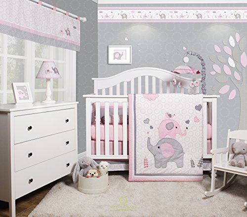 GEENNY OptimaBaby Pink Grey Elephant 6 Piece Baby Girl Nursery Crib Bedding Set