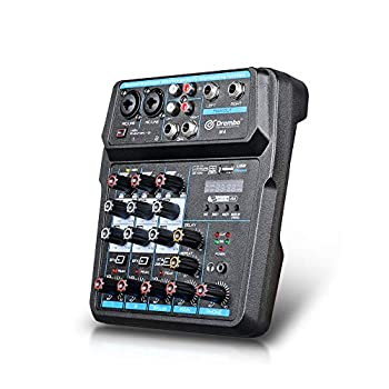 M4 Mini 4 Channel Mixer Audio DJ Console with Sound Card USB Audio Interface 48V Phantom Power Mixer for PC Recording Singing Webcast Party  M4