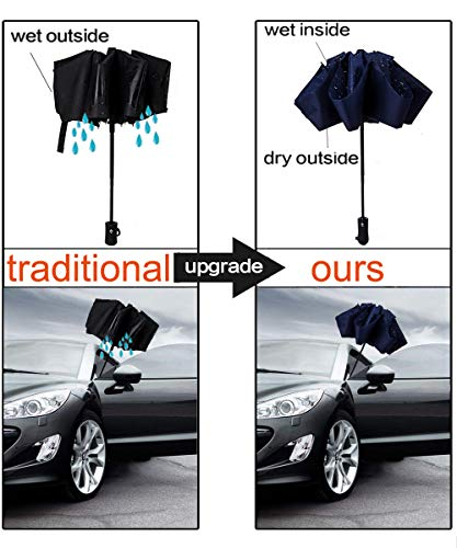 NOOFORMER Travel Inverted Automatic Umbrella – Reverse Windproof Golf Compact Lightweight Car Umbrellas for Men & Women
