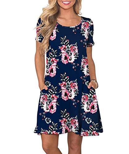 Yidarton Sommerkleid Damen Casual Lose Kurzarm T-Shirt Kleider Elegant Boho Blumen Strand Kleider mit Taschen (Marine, XL)
