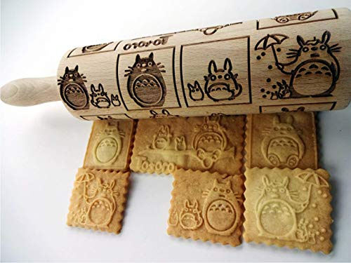 ANIME ROLLING PIN Wooden handmade lazer engraved embossing dough roller GIFT for KID FRIEND