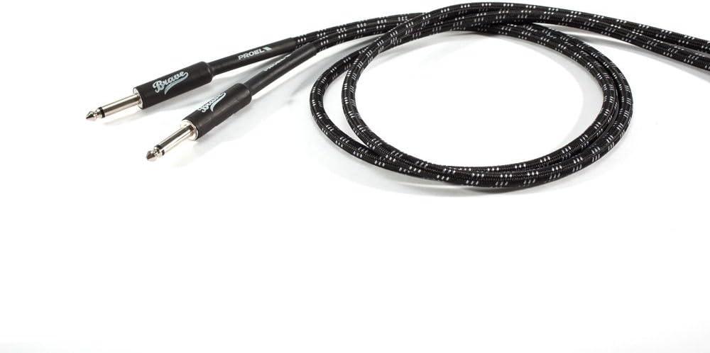 Bianco Jack mono 6.3mm Guaina in PVC flessibile con rivestimento in cotone Nero Proel BRV100 BW Brave Cavo Per Strumenti Jack Mono 6.3 mm 3mt