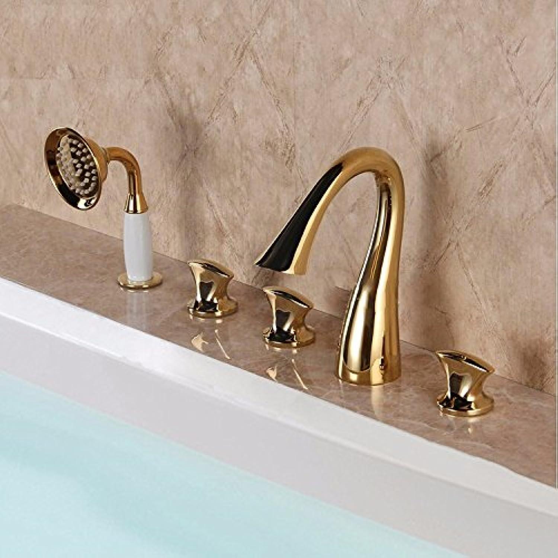 STAZSX Kontinentale Split Badewanne Wasserhahn Satz von Fünfzylinder-Tippen Sie auf Wasserfall Wasserhahn mit Dusche H550, Silber set
