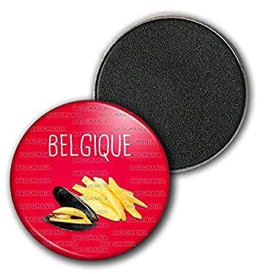 Badgmania Magnet Aimant Frigo 3.8cm Belgique Moules Frites - Humour Symbole Pays