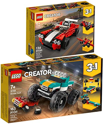 3-in-1 Lego® Creator 2er Set 31100 31101 Sportwagen + Monster-Truck