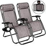 2 Pack Zero Gravity Chair, Folding Lounge Reclining Deck Chaise with Adjustable Headrest Pillows, Cup Holder Tray and Carry Rope for Lawn Poolside Backyard Patio, Beach and Camping Outdoor (Grey)