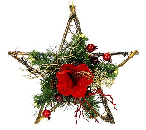 Flair Flower Rattan-Stern Amaryllis mit LED-Licht, rot, 30x30x7 cm