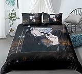 Cubierta de colcha de tres piezas para Jujutsu Kaisen Gojo Satoru, funda de almohada de acolchado de anime 3D, 100% poliéster, suave y cómoda, ropa de cama para fanáticos de otaku y anime, mejor regal