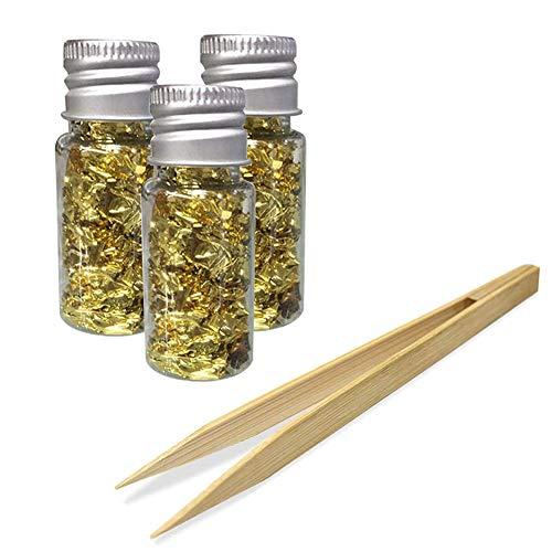 Surakey 3 Flaschen Essbare Blattgold Flocken, 24 Karat Gold Flocken Essbare zum Basteln Lebensmittel Dekorfolie Papier Küche Mousse Kuchen Backen Gebäck Kunsthandwerk Decor (Hergeben Pinzette)