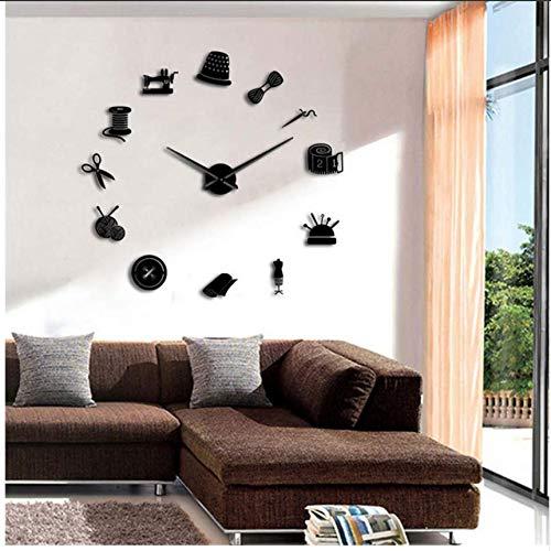 Djkaa naaimachine knutselen grote wandklok modern design op maat gesneden muurkunst decoratie thuis wandklok spiegel 3D (27 inch)