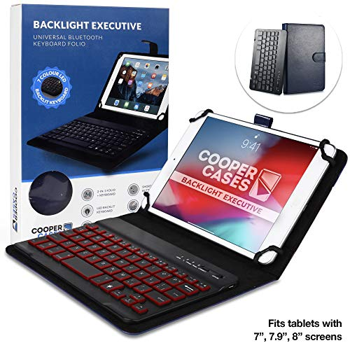 Cooper Backlight Executive Keyboard Case for 7-8 Inch Tablets | 2-in-1 Bluetooth Wireless Backlit Keyboard, Leather Folio, 7 Color Keys (Blue)