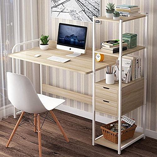 Escritorio de madera con marco de metal para computadora, mesa de trabajo en casa, oficina, escritorio, moderno, resistente, para oficina, dormitorio, sala de estar B 107 cm a 97 cm