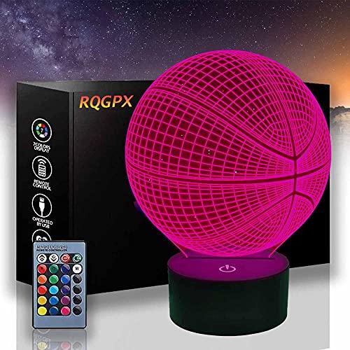 Lámpara de noche de baloncesto 3D, 16 colores cambiantes LED de ilusión óptica lámpara de noche para hombres o niños regalos especiales de cumpleaños