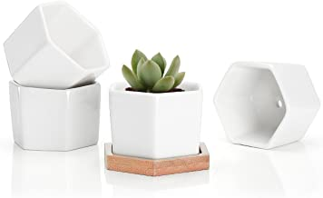 Succulent Plant Pots - 2.76 Inch Small Ceramic Hexagon Planter Containers for Flowers or Cactus with Drainage Hole and Bam...