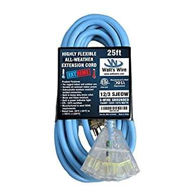 Extreme 25 ft 12 Gauge Heavy Duty Indoor Outdoor SJEOW Lighted Triple Outlet Very Flexible Cold Weather Oil Resistant Blue Rubber Extension Cord by Watts Wire