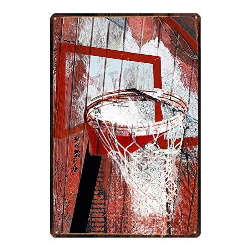 ivAZW Blechschild Basketball Plakette Metall Vintage Sportdekoration Poster Wand Bar Fitnessstudio Restaurant Kunst Wohnkultur 20x30cm DU-7471