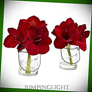 JumpingLight Amaryllis in Glass Vase (Set of 2) Artificial Flowers Wedding Party Centerpieces Arrangements Bouquets Supplies