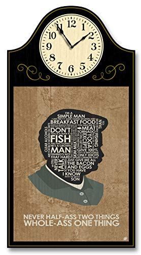 Northwest Art Mall Parks & Rec. Ron Swanson, Never Half-Ass Two Things. Wood Wall Clock for Home & Office from Typography Drawing by Pop Artist Stephen P. 9' x 12' with 5' Clock Face.