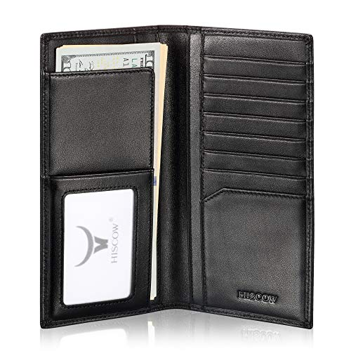 Slim Leather Long Wallet for Men & Women, Italian Calfskin, Breast Pocket Wallet for Checkbook, Credit Cards (Black)
