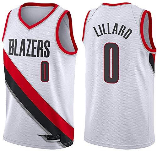 WSWZ Camisetas De Baloncesto De La NBA - Blazers 0# Damian Lillard Camiseta De La NBA para Hombre - Chalecos Cómodos Casuales Camisetas Deportivas Camisetas Sin Mangas,B,S(165~170CM/50~65KG)