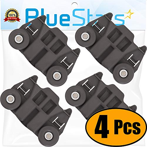 [UPGRADED] Ultra Durable W10195417 Dishwasher Wheel with STEEL Screws Replacement Part by Blue Stars - Exact Fit For Whirlpool Kenmore Dish Rack AP4538395 PS2579553 - PACK OF 4