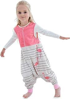 MICHLEY MICHLEY Baby Schlafsack mit Füßen, mädchen und Junge Schlafstrampler Vierjahreszeiten,Rosa 3-5 Jahre
