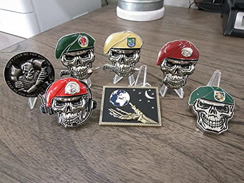 Set of 7 Special Forces Skull Challenge Coins JSOC US Special Operations Command US Army Ranger USAF Pararescue USAF Combat Control Green Berets & Army Delta Force