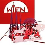 """3D Pop Up Karte """"Wien – Panorama mit Riesenrad"""" - Wiener Grußkarte – Städtekarte als Österreich Souvenir, Geburtstagskarte, Einladung & Gutschein zur Städtereise"""