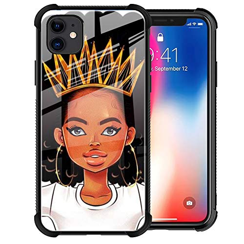 YiXinBB iPhone 11 Pro Max Case, African American Afro Girls Women Cute Design 9H Tempered Glass Black Cover Slim Fit Shockproof TPU Bumper Protective Case for iPhone 11 Pro Max 6.5inch,Queen Girls