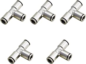 BestTong Brass Push to Connect Air Fittings Tee 3/8inch(10mm) OD Straight Union Connect Pneumatic Air Fittings Quick Connect Push Lock Fittings Air Bag Fittings Nickel-Plated Pack of 5