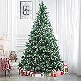 Weihnachtsbaum Künstlich,220 cm Tannenbaum mit 54 Tannenzapfen Weihnachtsbäume mit Schnee Tannenbaum mit Ständer Schneebedeckten Beschneiten Spitzen Christbaum für Weihnachtsdekoration