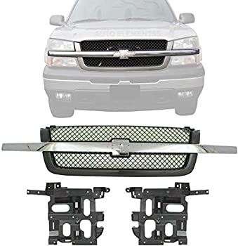 New Front Grill Mesh Primed with Chrome Center Bar + Headlight Brackets Left Driver & Right Passenger For 2003-2007 Chevrolet Silverado Direct Replacement 15798921 15798922 19168629