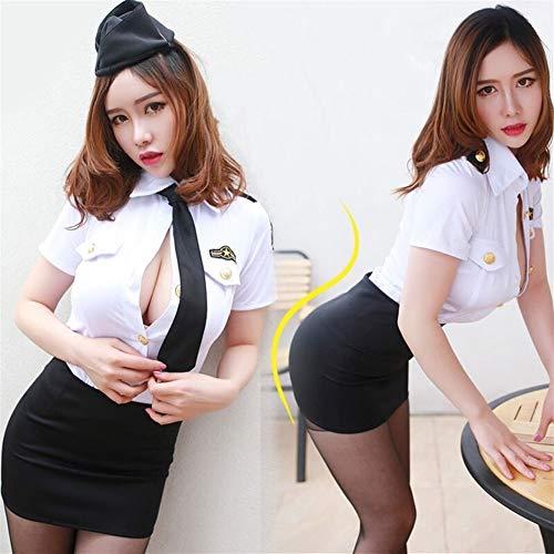 Sexy Polizistin Kostüm Offizier Damen Rollenspiele Abendkleid-erwachsen Cops Stewardess Uniform (Color : with Black Stockings, Size : XS)