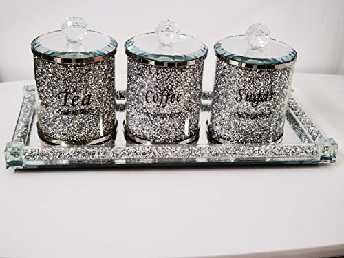Biznest Set Of Diamond Crushed Tea Coffee Sugar Jars & Mirrored Crystal Candle Plate 39X18Cm Elegant Addition To Your Home- Best Gift